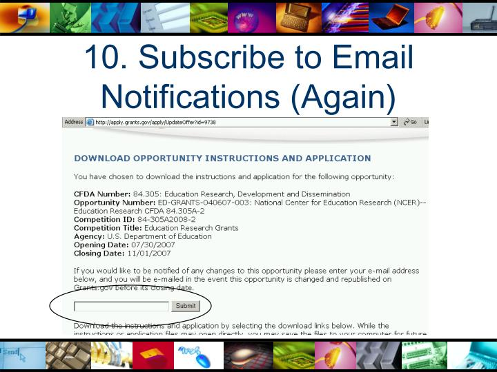 10. Subscribe to Email Notifications (Again)