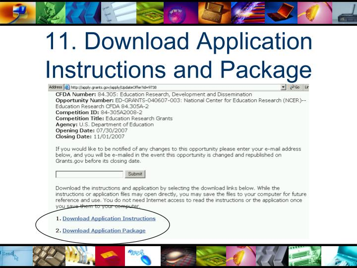 11. Download Application Instructions and Package