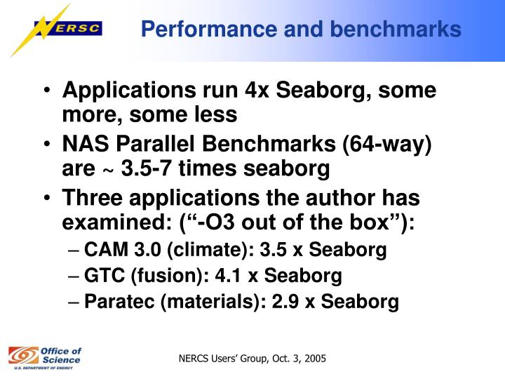 Performance and benchmarks