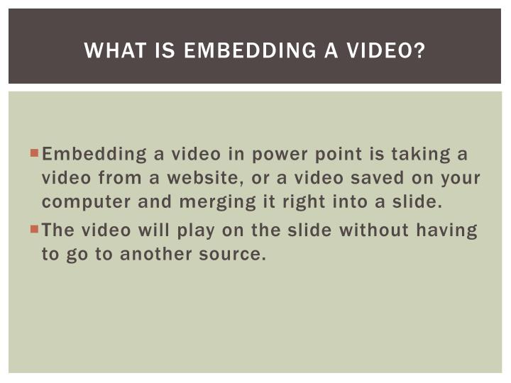 What is Embedding a Video?