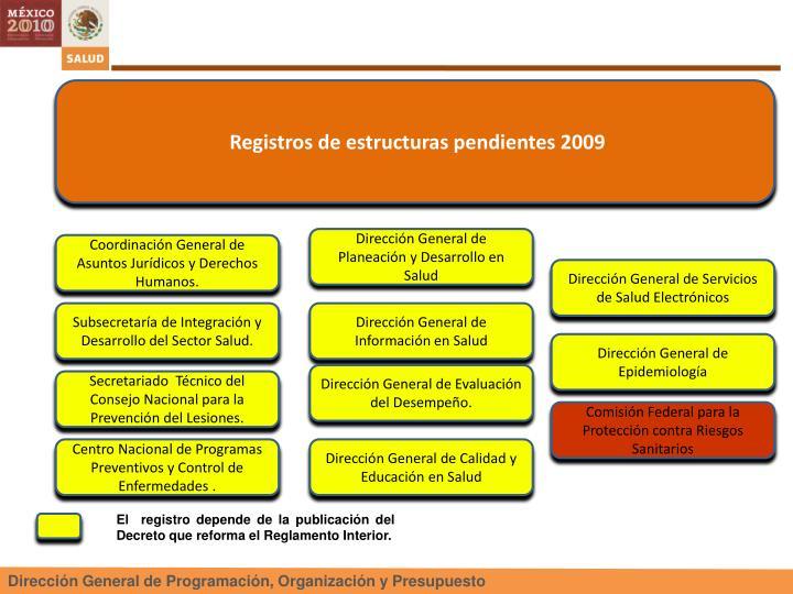 Registros de estructuras pendientes 2009