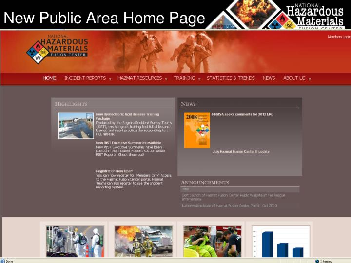 New Public Area Home Page