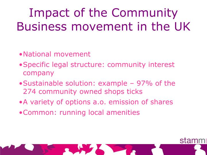 Impact of the Community Business movement in the UK