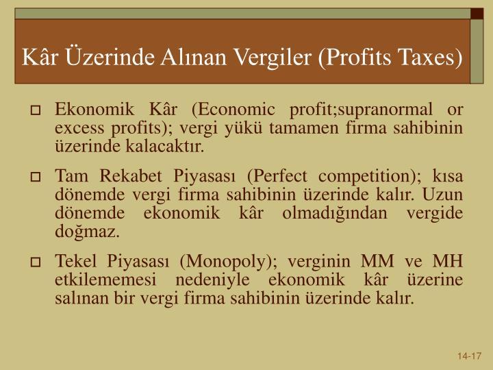 Kâr Üzerinde Alınan Vergiler (