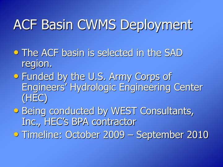 ACF Basin CWMS Deployment