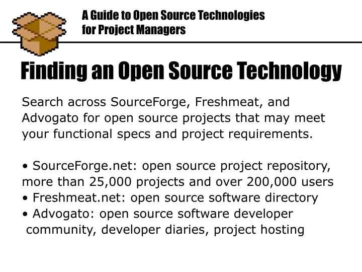 Search across SourceForge, Freshmeat, and