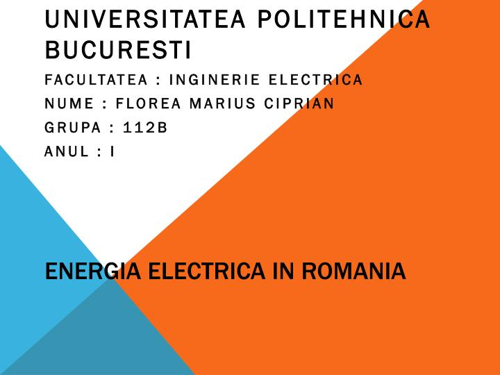energia electrica in romania