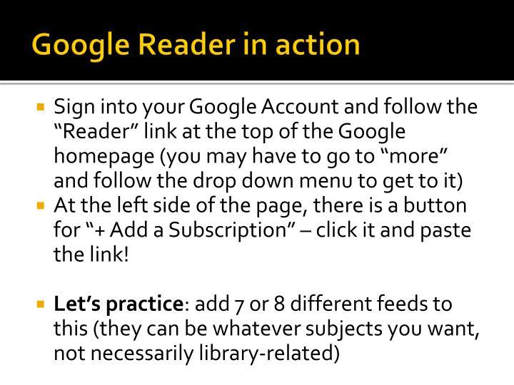 Google Reader in action