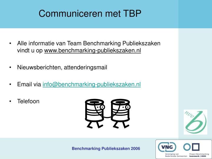 Communiceren met TBP