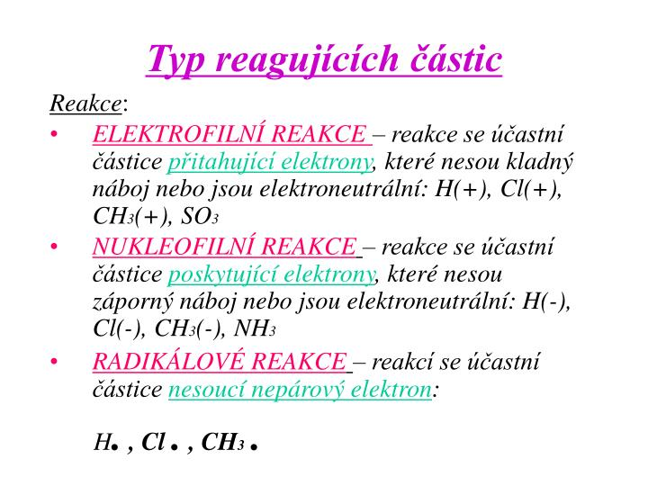 Typ reagujících částic