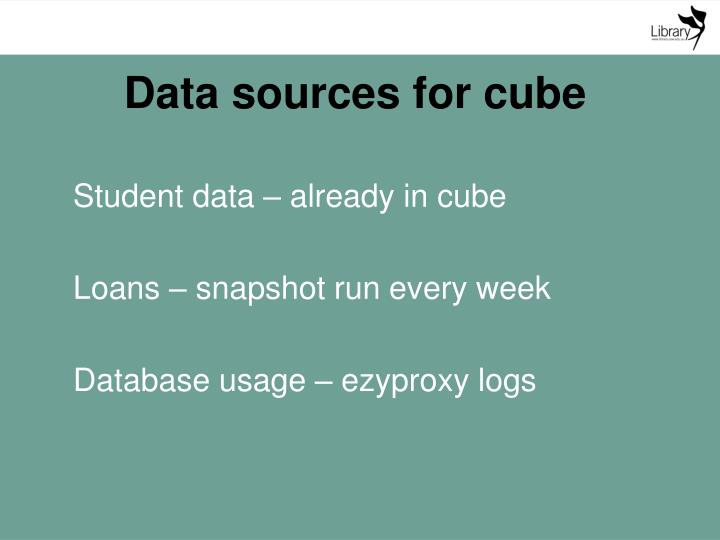 Data sources for cube