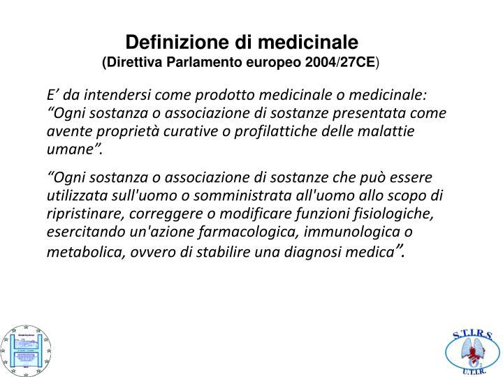 Definizione di medicinale