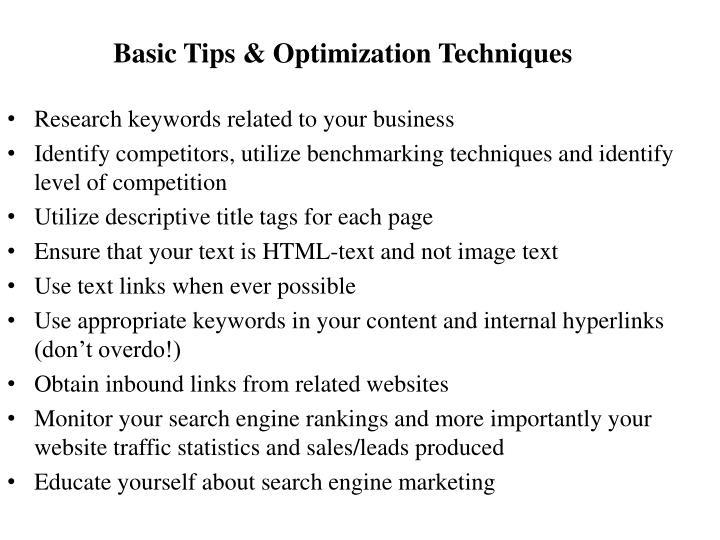 Basic Tips & Optimization Techniques