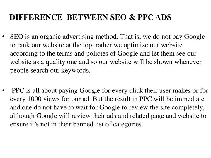 DIFFERENCE  BETWEEN SEO & PPC ADS