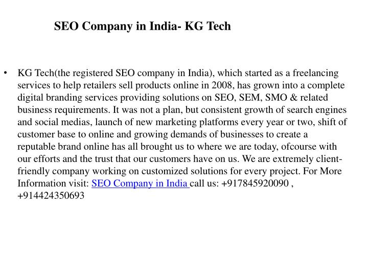 SEO Company in India- KG Tech