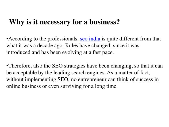 Why is it necessary for a business?