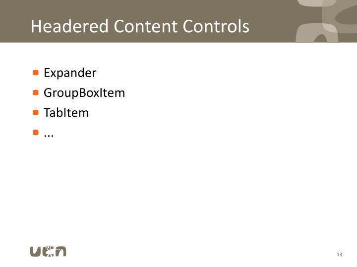 Headered Content Controls