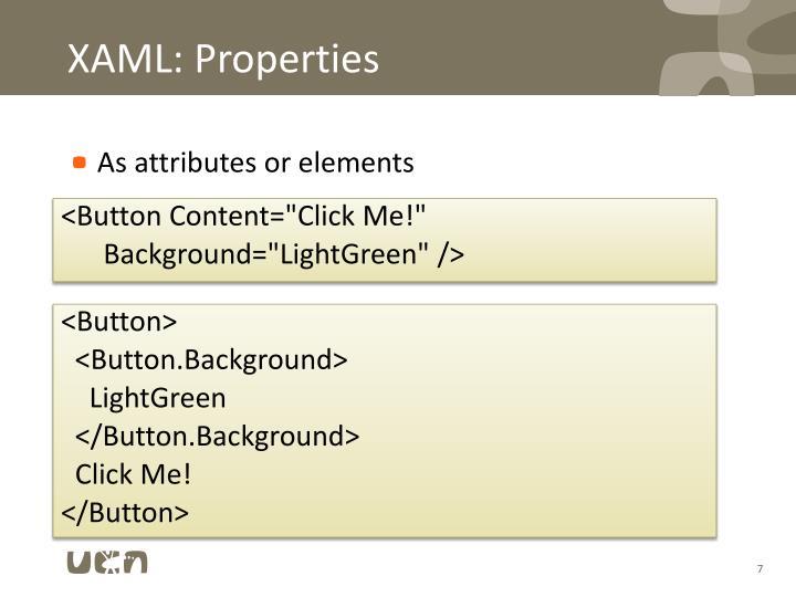 XAML: Properties