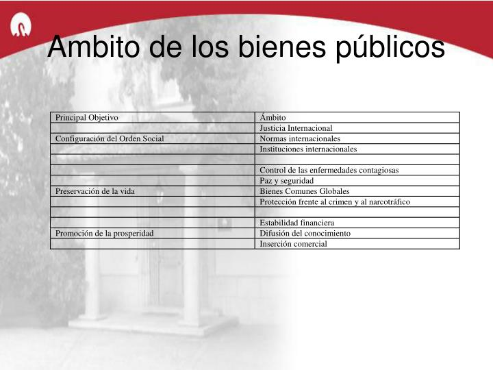 Ambito de los bienes públicos