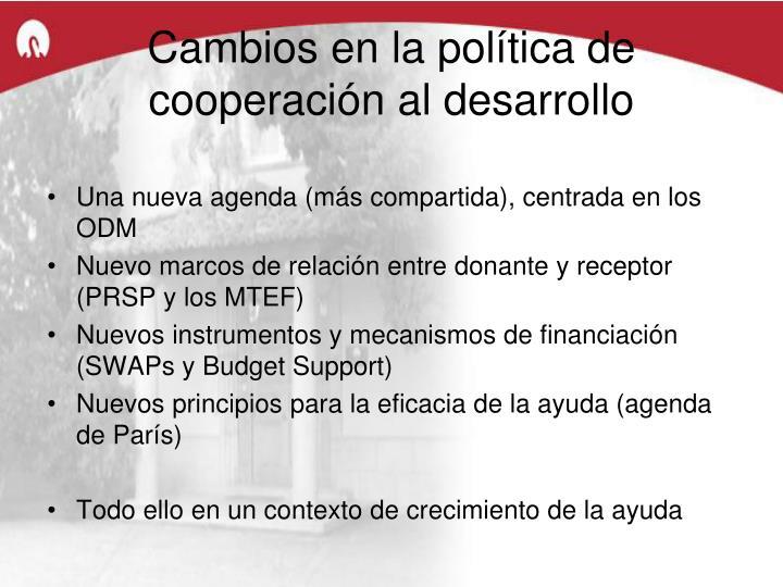 Cambios en la política de cooperación al desarrollo