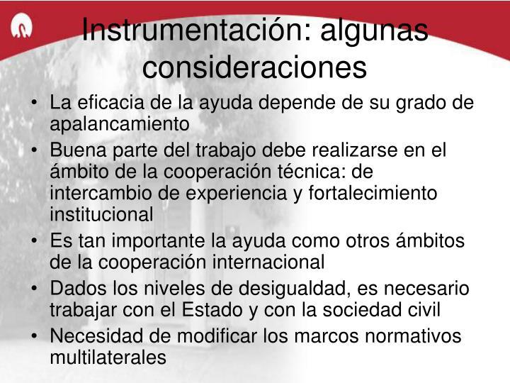 Instrumentación: algunas consideraciones