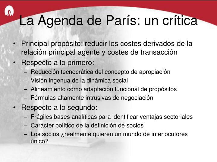 La Agenda de París: un crítica
