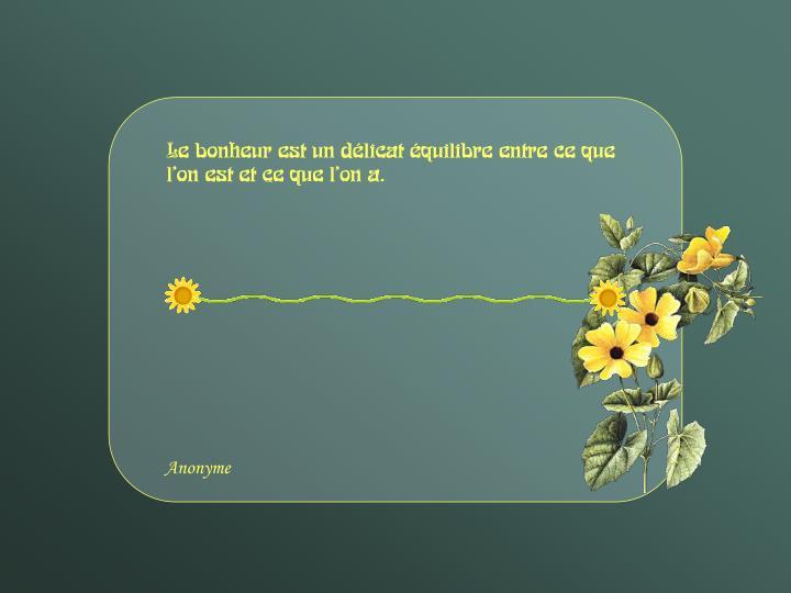 Le bonheur est un délicat équilibre entre ce que l'on est et ce que l'on a.