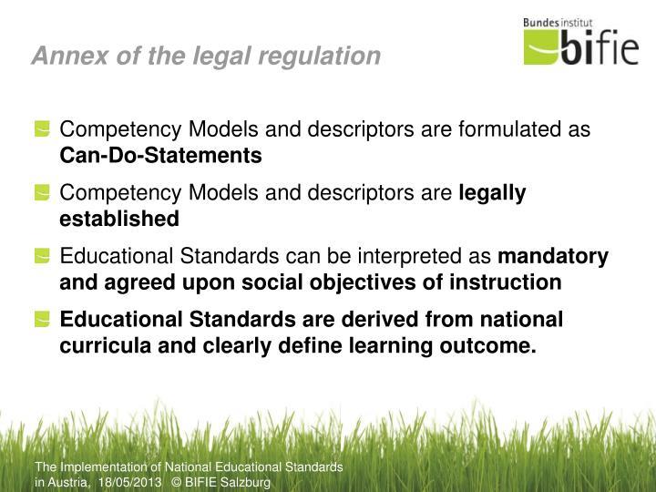 Annex of the legal regulation