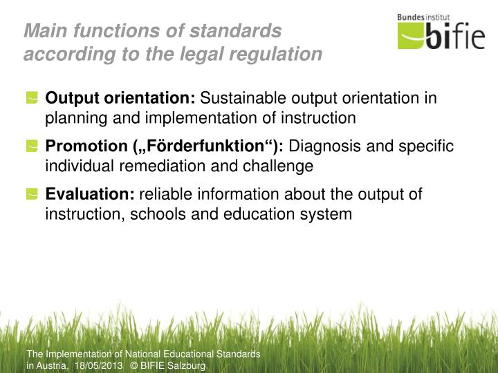 Main functions of standards according to the legal regulation