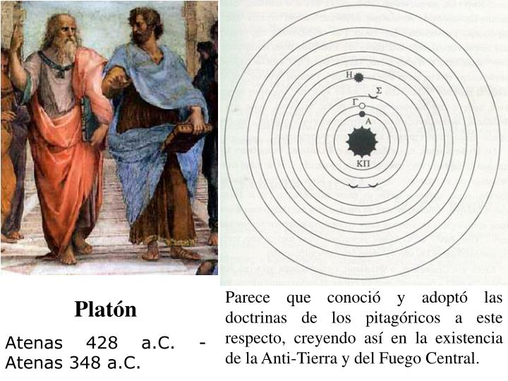 Parece que conoció y adoptó las doctrinas de los pitagóricos a este respecto, creyendo así en la existencia de la Anti-Tierra y del Fuego Central.