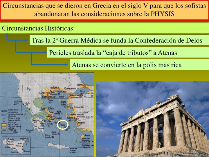 Circunstancias que se dieron en Grecia en el siglo V para que los sofistas abandonaran las consideraciones sobre la PHYSIS