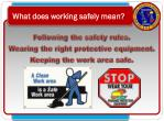 what does working safely mean