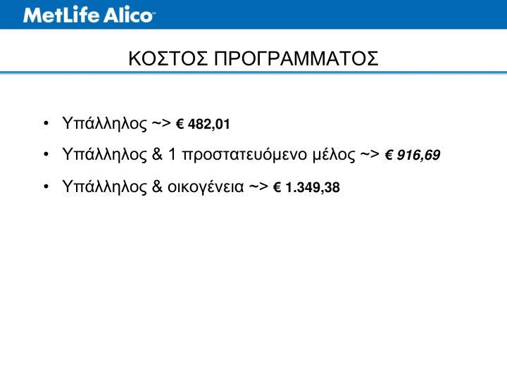 ΚΟΣΤΟΣ ΠΡΟΓΡΑΜΜΑΤΟΣ