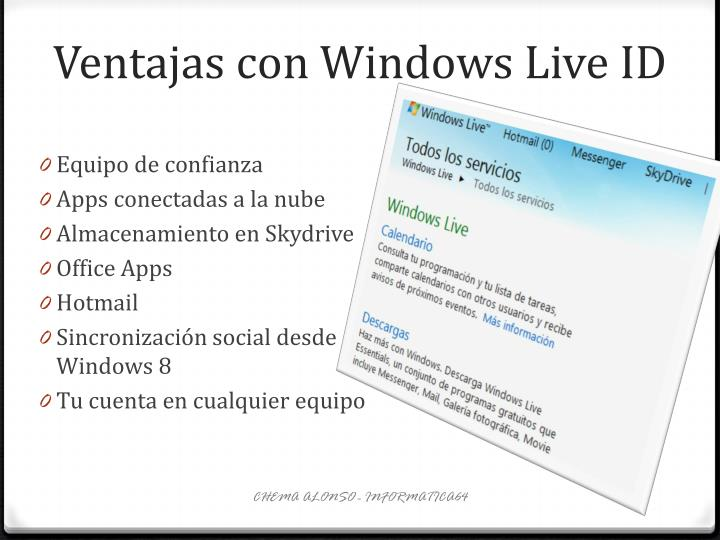 Ventajas con Windows Live ID