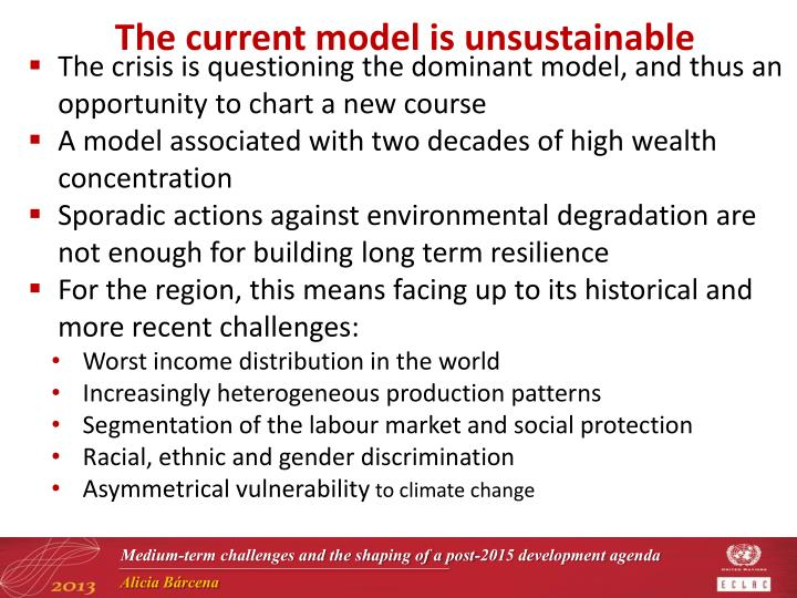 The current model is unsustainable