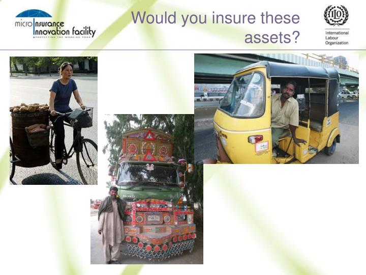 Would you insure these assets?