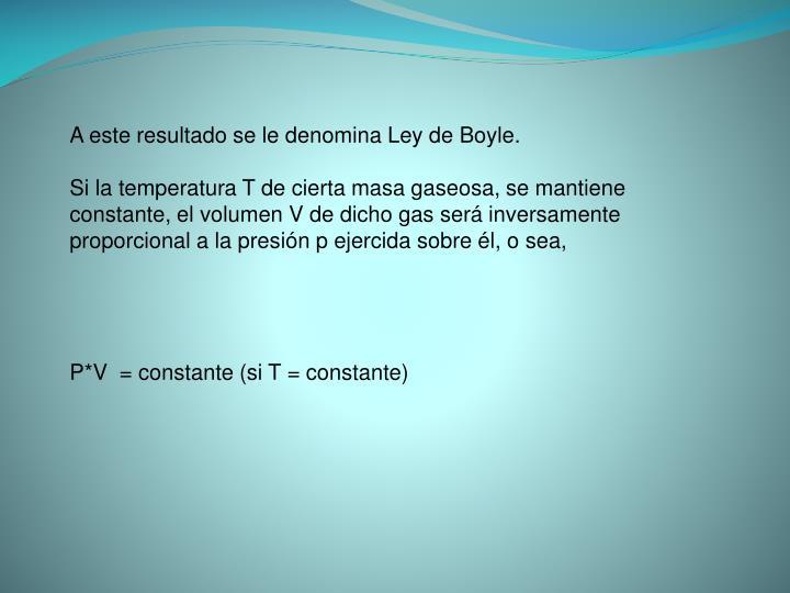 A este resultado se le denomina Ley de Boyle.