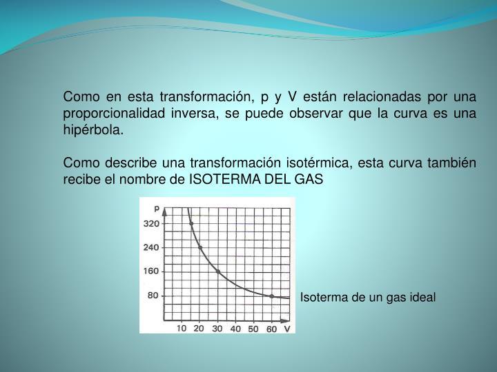 Como en esta transformación, p y V están relacionadas por una proporcionalidad inversa, se puede observar que la curva es una hipérbola.