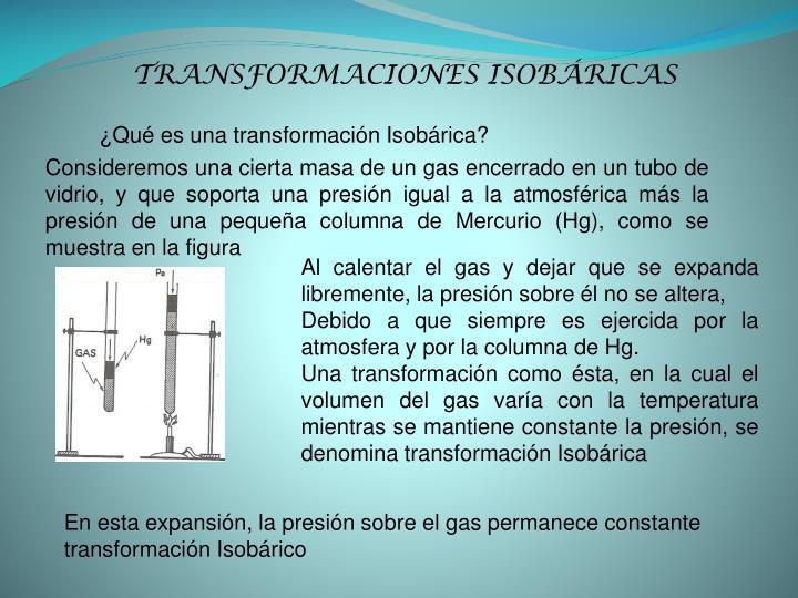 TRANSFORMACIONES ISOBÁRICAS