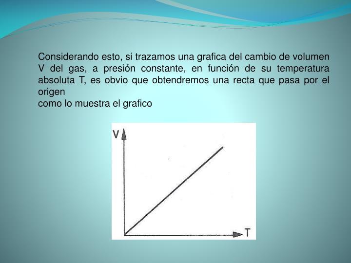 Considerando esto, si trazamos una grafica del cambio de volumen V del gas, a presión constante, en función de su temperatura absoluta T, es obvio que obtendremos una recta que pasa por el origen