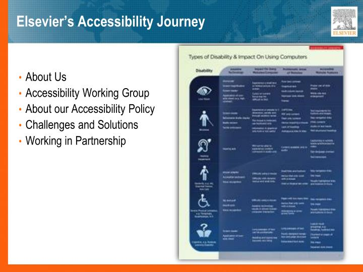 Elsevier s accessibility journey