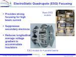 electrostatic quadrupole esq focusing
