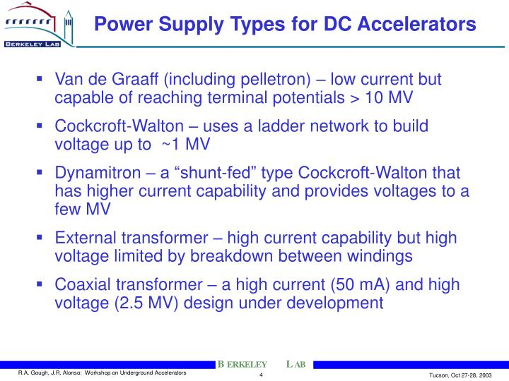 Power Supply Types for DC Accelerators
