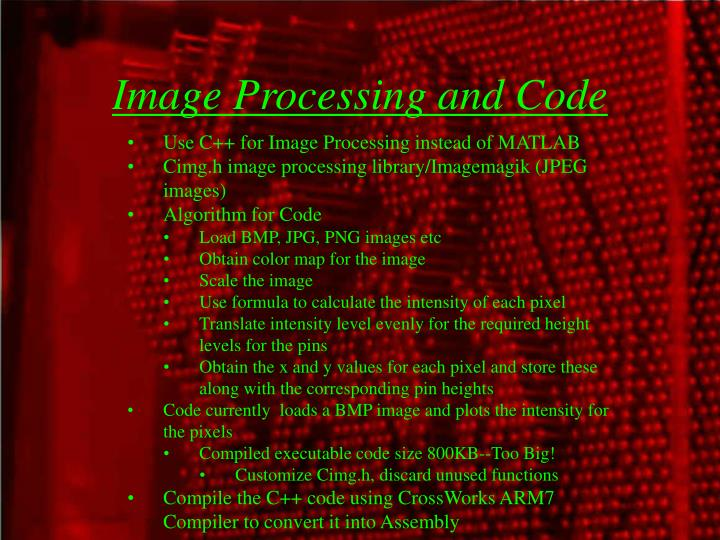 Image Processing and Code