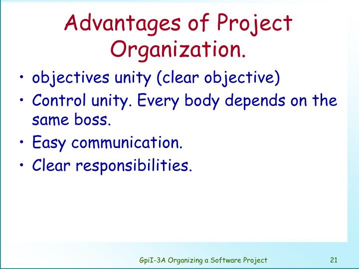 Advantages of Project Organization.