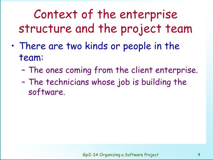 Context of the enterprise structure and the project team