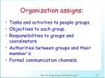 organization assigns