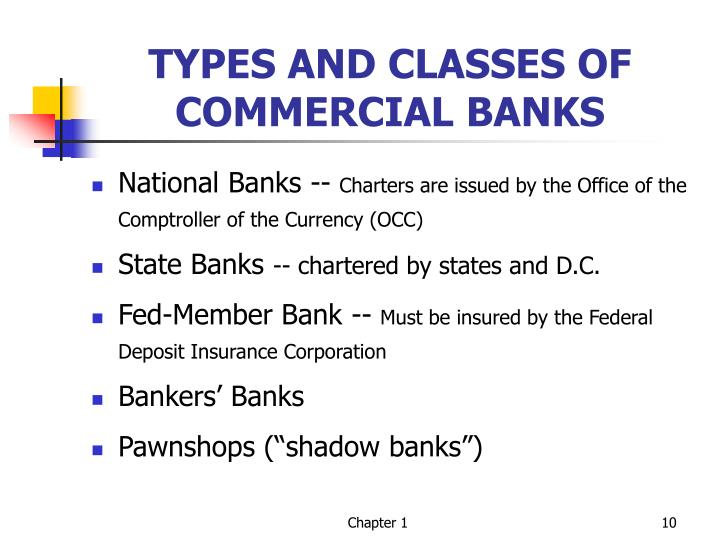 TYPES AND CLASSES OF COMMERCIAL BANKS