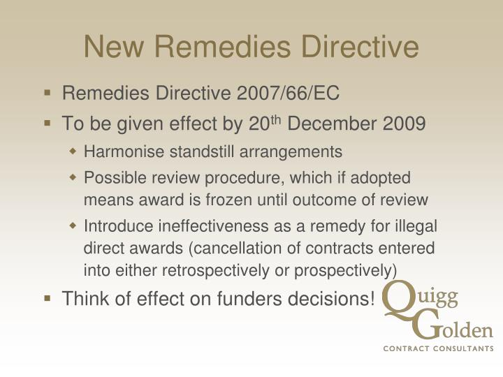 New remedies directive