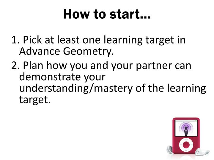 How to start…